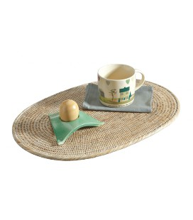 Set de table ovale Marine - rotin cérusé blanc