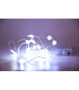 Photophore Lighty blanc cérusé avec guirlande led