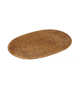 Set de table ovale Marine - rotin miel